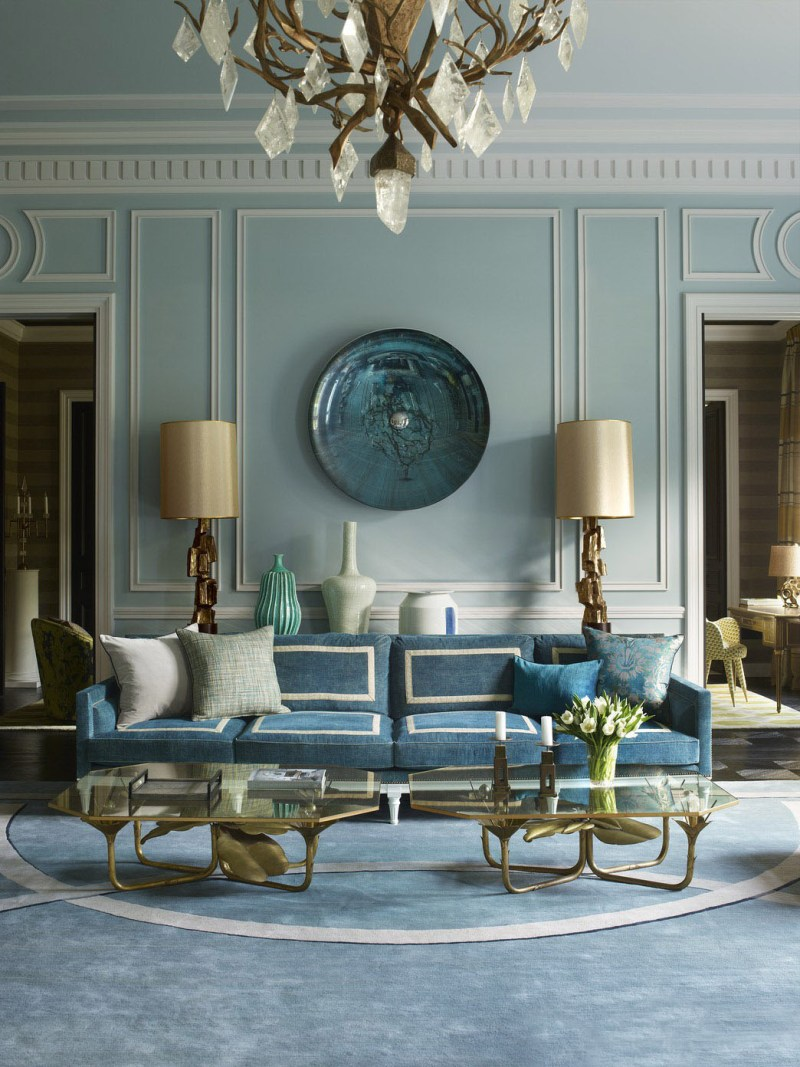 An incredible arrangement using a pair of cocktail tables in the is Paris apartment by one of our favorite designers, Jean Louis Deniot - Using two coffee tables or any complimentary pieces is always a chic solution.