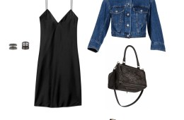 lingerie dress denim jacket look
