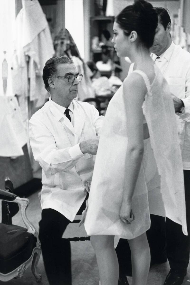 Cristobal Balenciaga during a fitting, photographed by Henri-Cartier Bresson, 1968