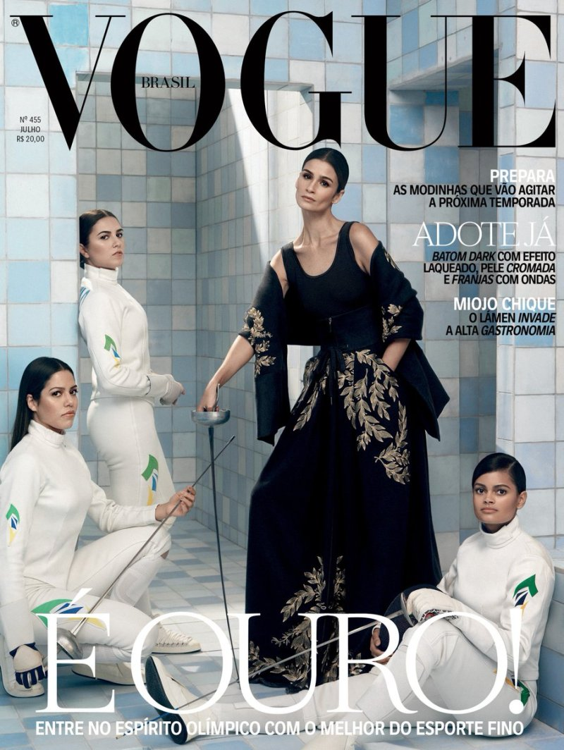 Brazilian athletes and top model Caroline Ribeiro on the cover of Vogue Brasil | Photo: Henrique Gendre