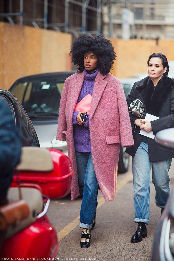 Pink coat street style
