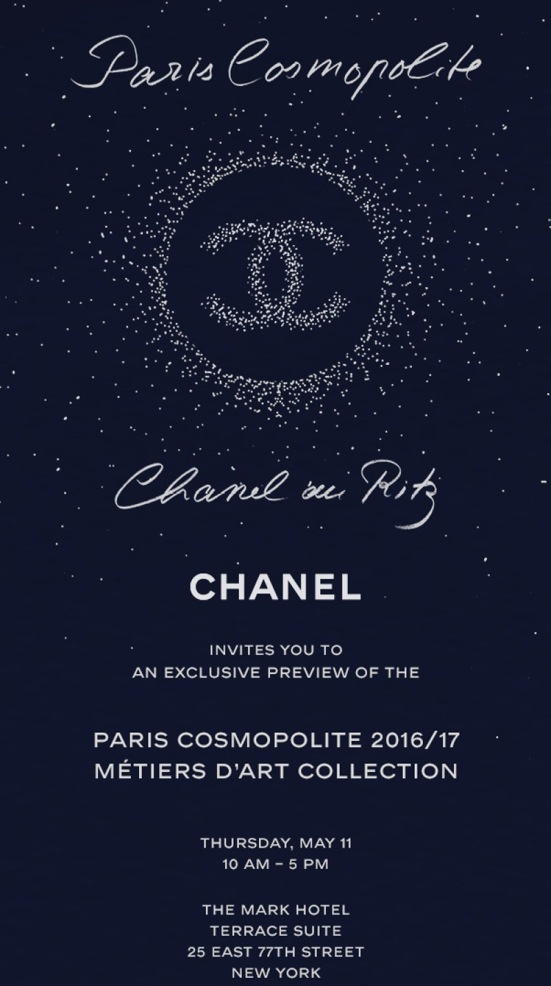 chanel invitation to the mark hotel summer preview