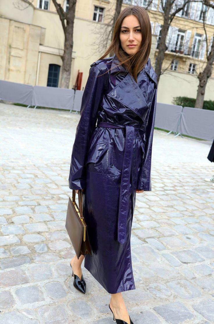 Giorgia tordini wearing a purple rain coat