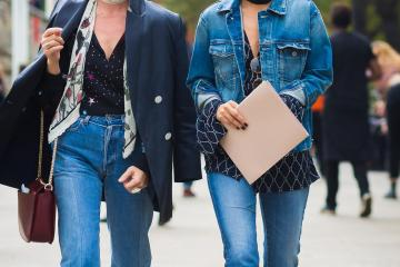 street style bloggers in denim jacket and neck scarves and blazer