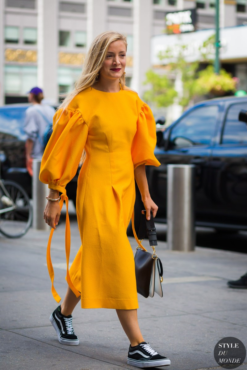 avant garde street style at nyfw kate foley in yellow dress and vans