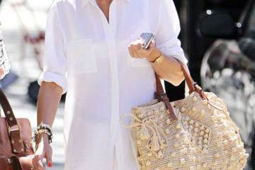 classic style type street style on olivia - white button down and skirt