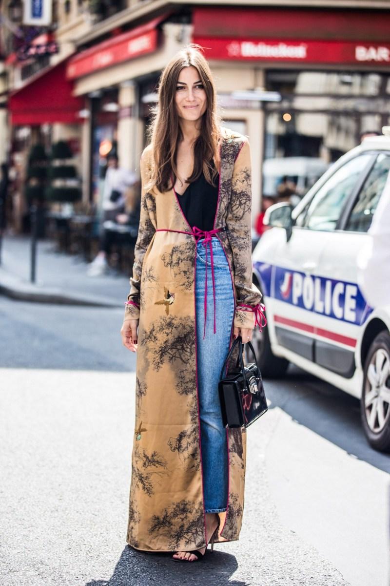 Georgina in a kimono dress and jeans