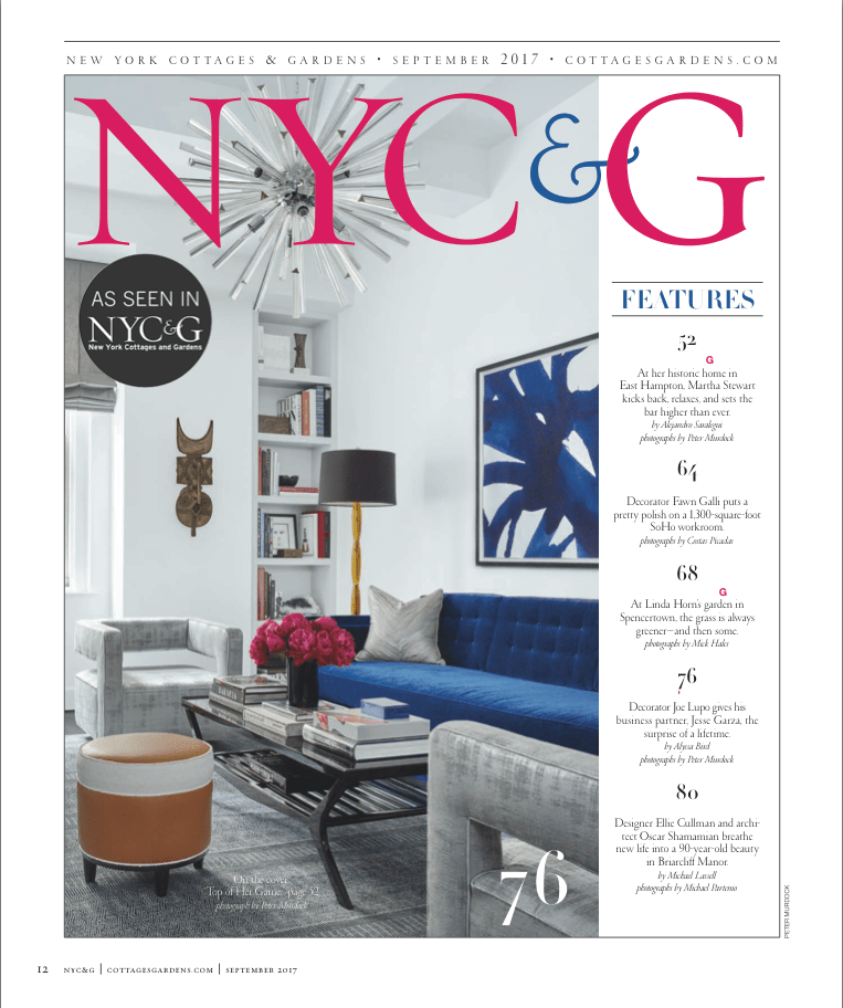 Image of a page in nyc cottages and gardens magazine of a living room designed by interior designer Joe Lupo VT home.