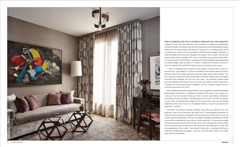 Image of interiors magazine spread featuring Joe Lupo VT Home. Image features an office with a lavender velvet sleeper sofa, with purple and fuchsia pillows with fabric from pierre frey, two small walnut octagon tables, ethnic print curtains by romo, floor lamp by gio ponti, purple silk rug by stark carpet, brass and walnut mid century chandelier and colorful modern artwork by marc horowitz
