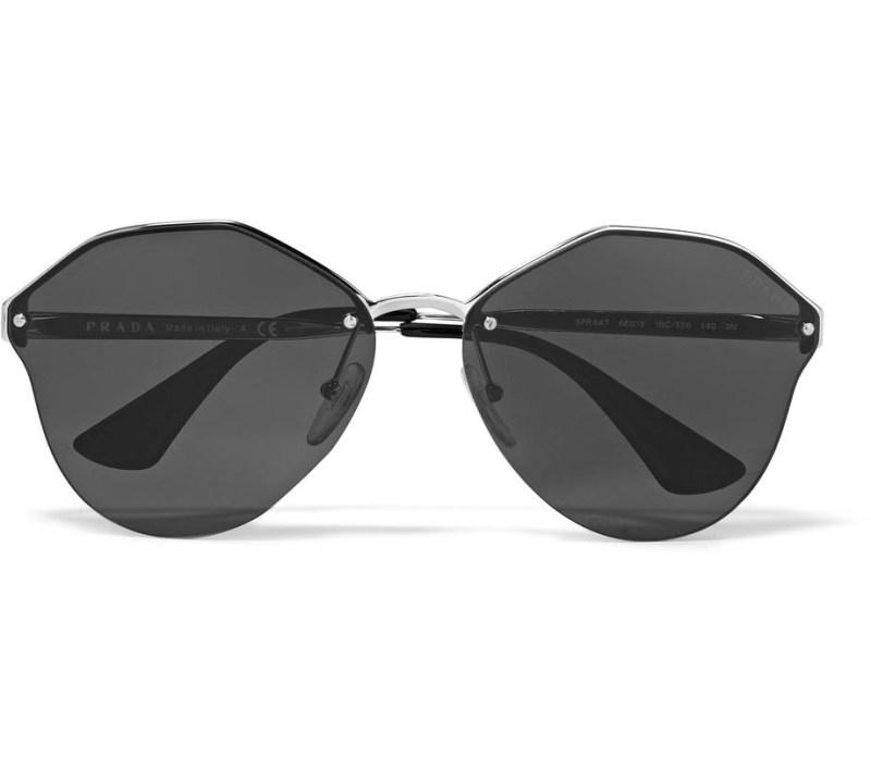 PRADA Round-frame silver-tone mirrored sunglasses