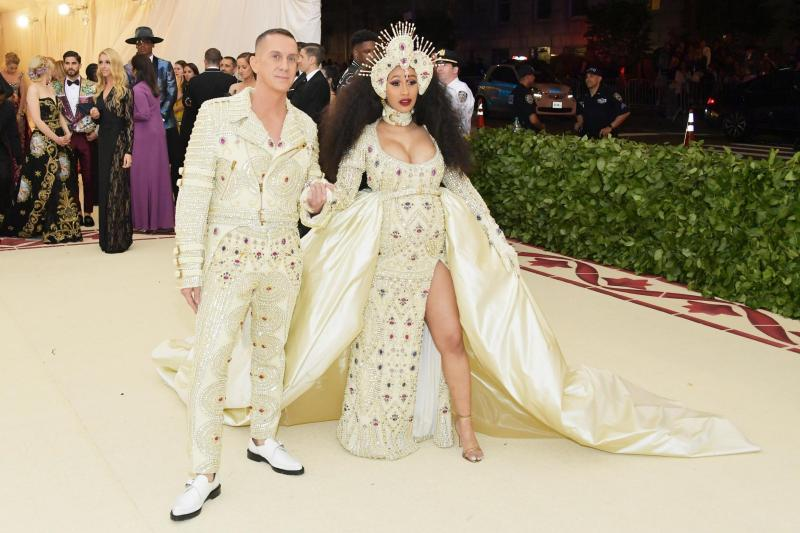 cardi b and jeremy scott in moschino at met gala 2018