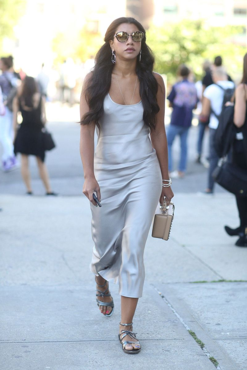 Hannah Brofman silver Slip Dress street style shot