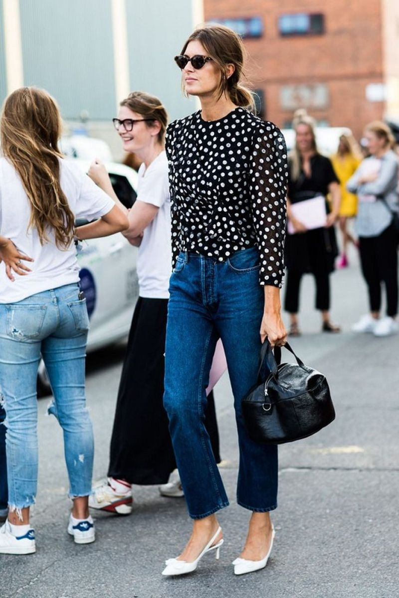 Street style image of girl wearing levis and a polka dot top