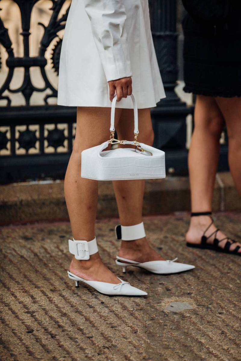 Street style image of a boxy bag at nyfw