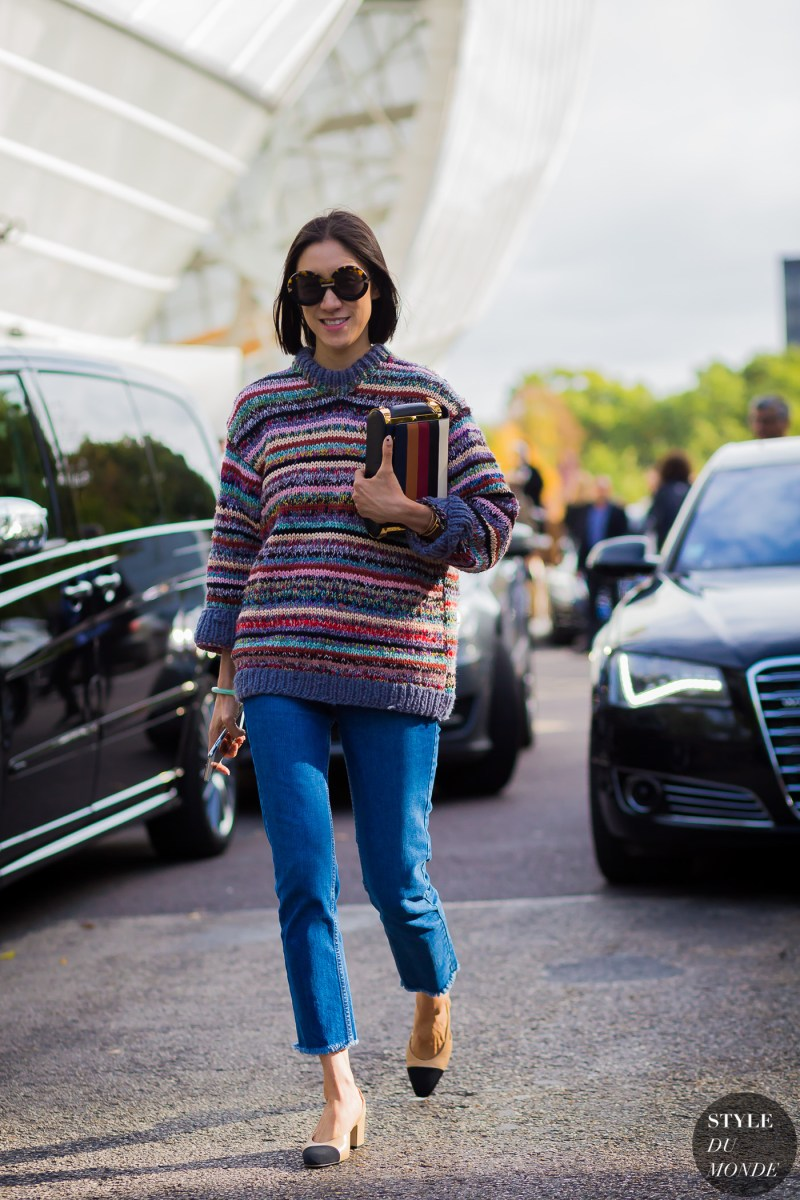 Eva Chen in striped sweater and jeans