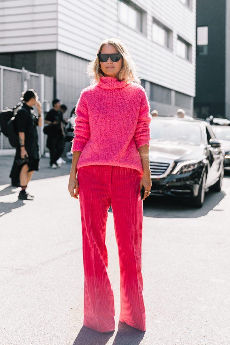 Pink corduroys street style