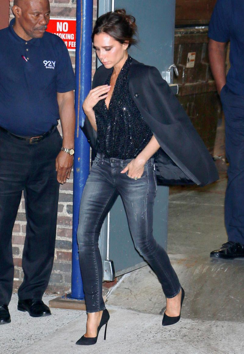 Victoria Beckham wears an all black casual outfit after her appearance at the 92Y as she heads to dinner at the Polo Club in NYC.