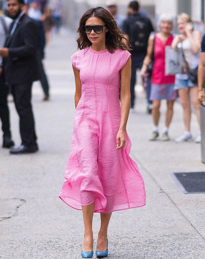 Victoria Beckham pink street style
