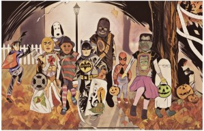 A print of children dressed as various iconic characters while trick or treating