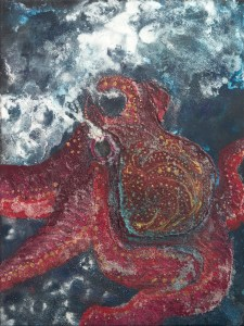 A mixed media of an angry red octopus in sea foam