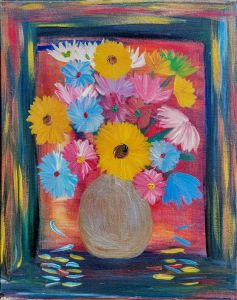 A painting of yellow, red, blue, white flowers in a round vase