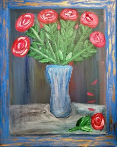 Painting of six red roses all in a vase and one on a table in front