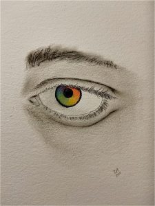 A charcoal drawing of an eye with a rainbow iris