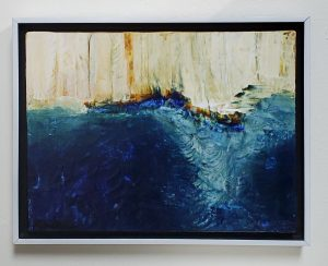 An abstract painting with blue hues