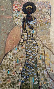 A woman in a flowing golden dress with eyeballs on it