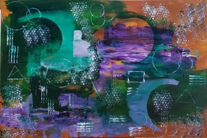 Abstract art with green blue and purple hues