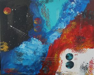 An abstract painting of space with black, blue and red hues