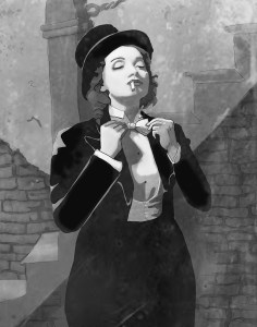 A print of a woman in a suit, bowtie and top hat in black and white