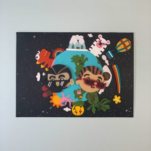 A mixed media piece of two heads wearing sunglasses on top of an earth with all sorts of creatures and locations sticking out of it