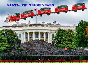 Santa driving a magic train through the air over the white house with lots of coal on the white house lawn