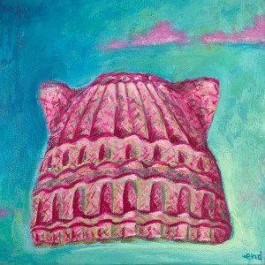 A painting of a pink knight hat with cat ears on it