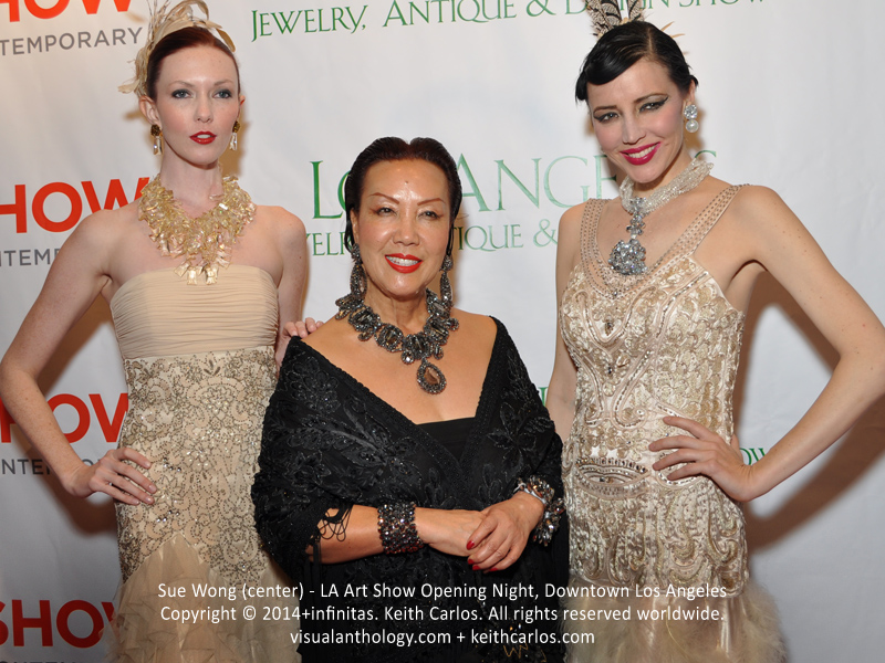 Sue Wong - Fashion Designer; LA Art Show Grand Opening Night Press Reception Party, Convention Center Downtown LA, Los Angeles, California - Copyright © 2014+infinitas. Keith Carlos. All rights reserved worldwide. visualanthology.com + keithcarlos.com