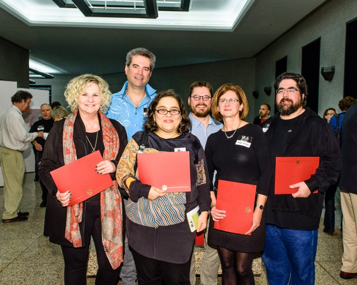 The award winners with VAA president Matt Adams and juror Anna Tahinci.