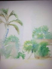 Watercolor under painting of Florida foliage around lighthouse, second draft.