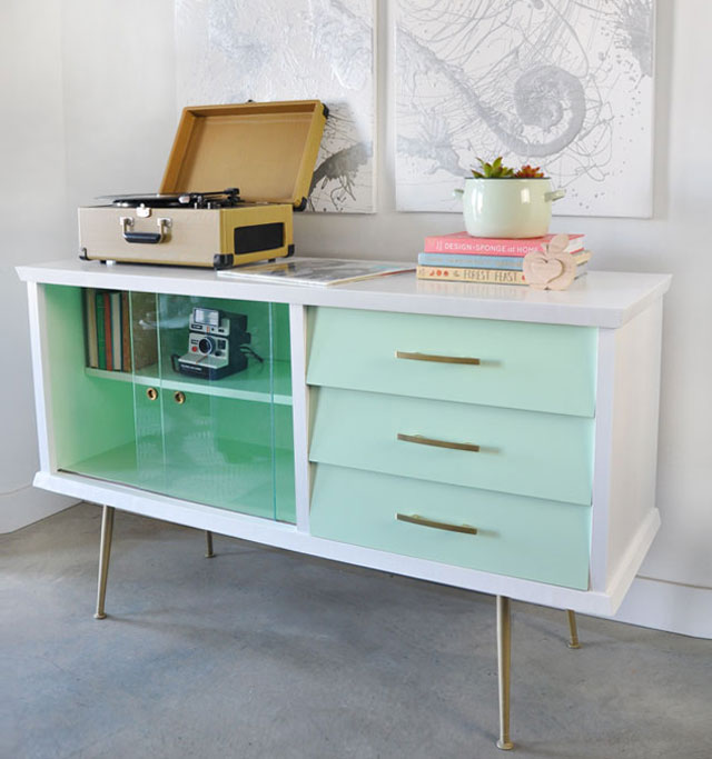 before and after painted vintage sideboard