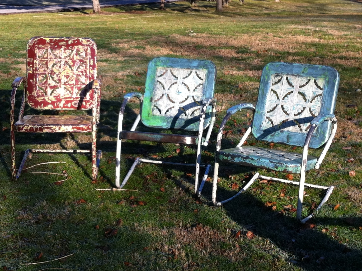 old metal chairs ice fishing chair with rod storage vintage lawn visual hunt 25 best ideas about on pinterest