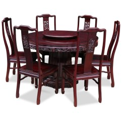 Round Dining Table For 6 Chairs Swivel Lounge Chair Visual Hunt 48in Rosewood Dragon Design With