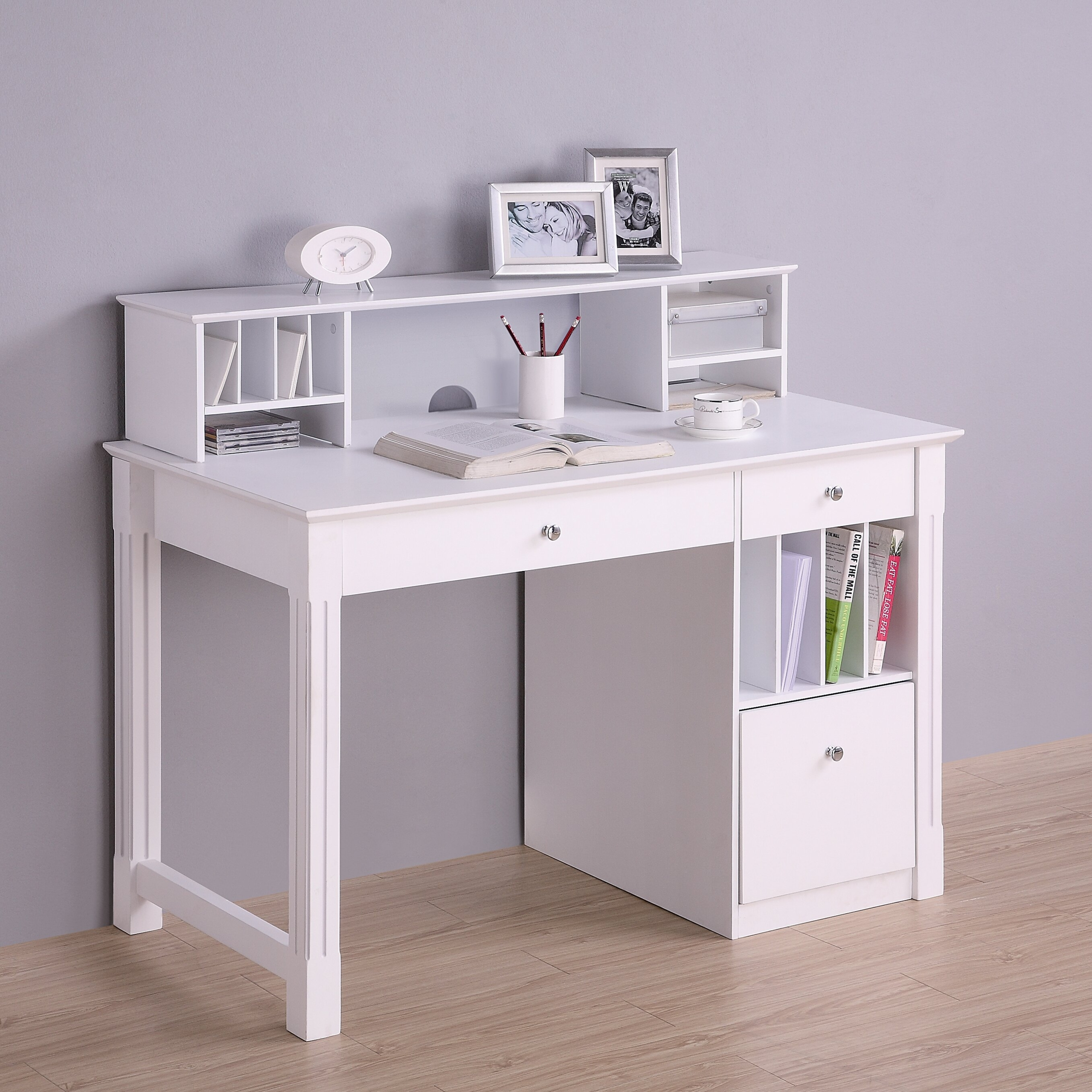 Ikea Officedesk Ideas: Narrow White Desk With Drawers