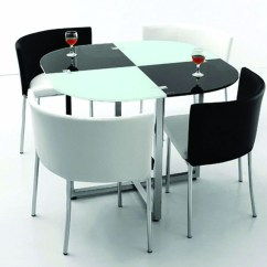 White Table Chairs Blue Rhino Chair Covers Space Saving And Visual Hunt Black Dining Room