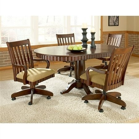 table with swivel chairs bean bag chair singapore dinette sets caster visual hunt chesterfield set rnd padded w