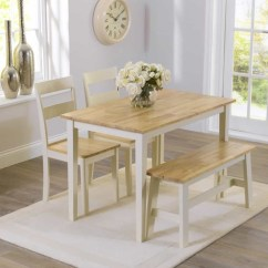 Table And Chairs With Bench Pressed Back Kitchen Dining Visual Hunt Chiltern 115cm Oak Cream