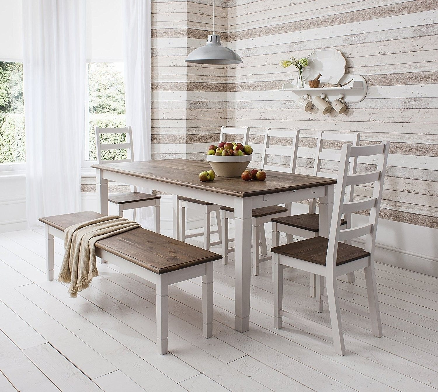 dining set with bench and chairs sundial accent tub chair table visual hunt canterbury white dark pine