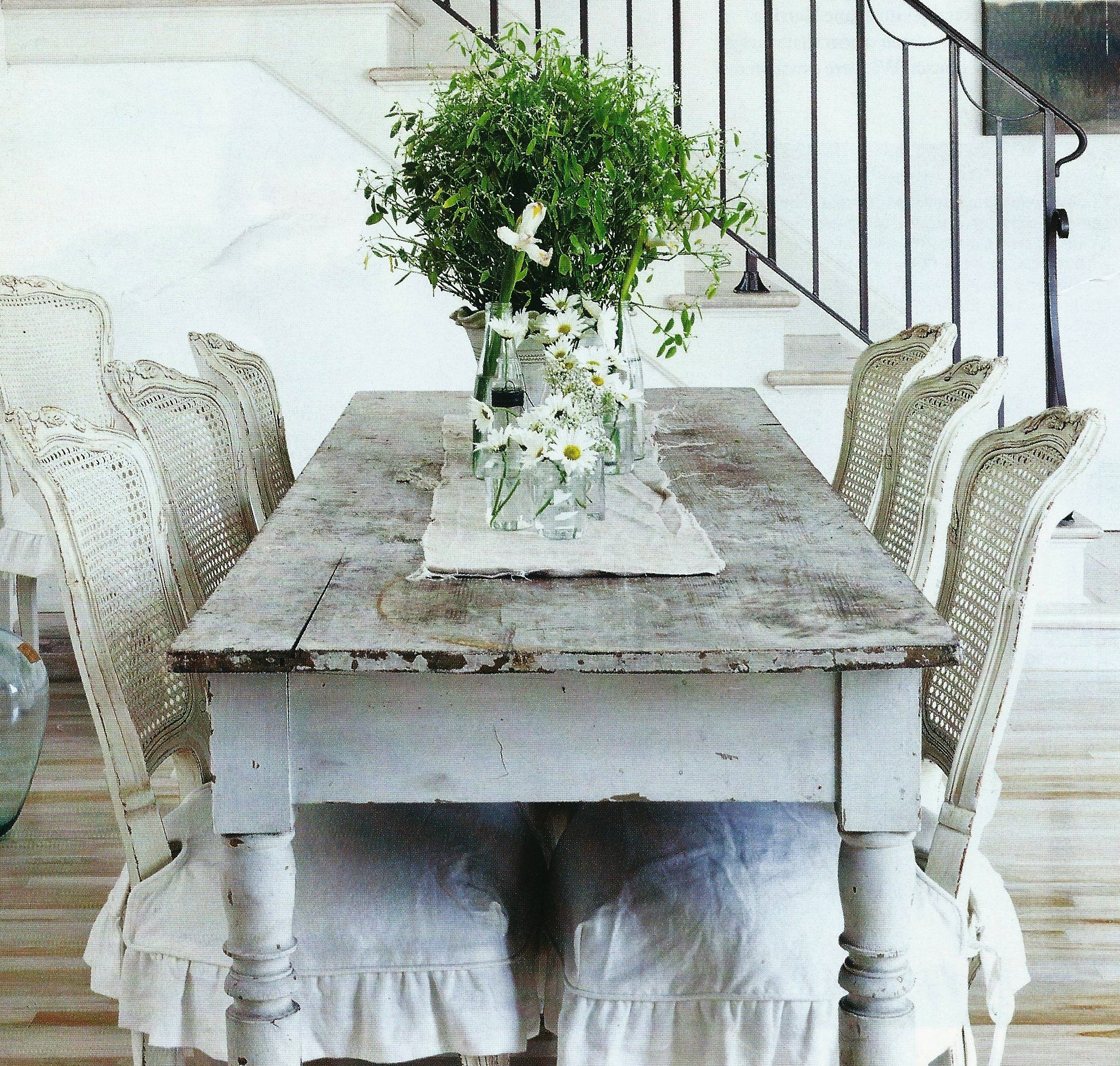 dining table with metal chairs narrow tub shabby chic visual hunt