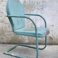 Old Fashioned Metal Lawn Chairs Springs For Recliner Vintage Visual Hunt Retro Chair Teal Rustic Porch Furniture