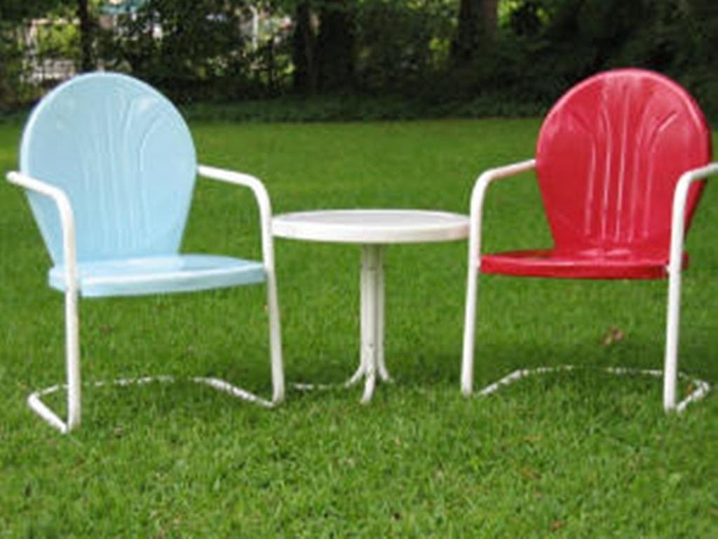 cheap lawn chair armless office chairs vintage metal visual hunt retro paint colors