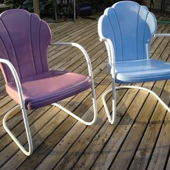 Antique Lawn Chairs Gold Chair Covers For Sale Vintage Metal Visual Hunt Shell Back Cb160 Guy